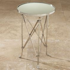Global Views Directoire Nickel and Mirror Table -  Free Shipping from GlamFurniture.com - $872.50