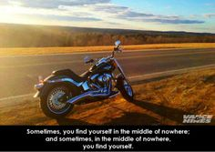 We must say that we agree with Vance and Hines on this one!  Sometimes just being out on your bike, middle of nowhere, that's the best kind of Therapy!  Therapy is expensive, wind is cheap!