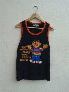 Vintage Television Show Sesame Street Ernie Cartoon Tanks Tops T-Shirt Size M by BubaGumpBudu on Etsy Tanks, Tank Tops, Spring Sale, Unisex, Cartoon, Street, Clothing, T Shirt, Handmade