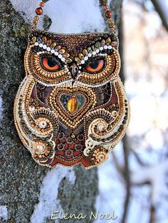 Forest owl and winter. Bead Embroidery Art