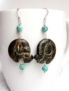 Elephants Revived Earrings-Eco Friendly Elephant Earrings-Sterling Silver-Turquoise Earring-Boho-Vegan-One of a Kind-Tribal-Gemstone by WaterRhythmGems on Etsy