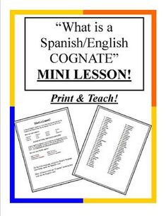 What is a Cognate - Spanish Mini Lesson Plan Spanish Basics, Spanish English, Spanish Words, Spanish Language Learning, Teaching Spanish, Teaching English, Spanish Lesson Plans, Spanish Lessons, Learn Spanish