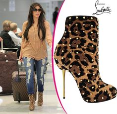 Kim-Kardshian-in-Christian-Louboutin Lipspike leopard boots [CELE005] - $259.00 : Discounted Christian Louboutin,Jimmy Choo,Valentino Shoes Online store
