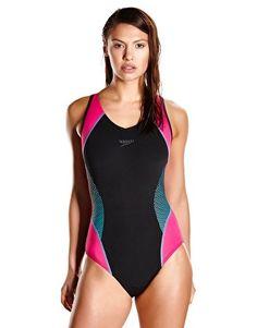 Speedo Endurance Plus Speedo Fit Splice Muscleback - Black and Pink