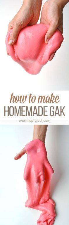 This homemade Gak recipe is so easy, and so much fun! Roll it into balls (it even bounces!), stretch it into snakes, or let it OOZE over top of your hands!