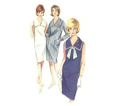 Sailor Collar 60's Nautical Shift Dress or Sailor Overblouse & Wiggle Skirt Butterick 3102 Vintage Sewing Pattern Size 16 Bust 36 UNCUT