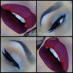 Vampy cranberry red matte lips, defined eyebrows, simple cat eyes make up