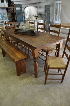 Farmhouse table / ladder back chairs. Could even use an old door for the table.hmm - the color is perfect too Farmhouse Furniture, Farmhouse Table, Dining Room Table, Table Bench, Wood Table, Bench Seat, Rustic Table, Table Legs, Ladder Back Chairs