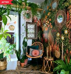 A plain hallway turns totally boho thanks to jungle mural wallpaper. Hippy Room, Boho Room, Hippie Room Decor, Interior Bohemio, Jungle Room, Jungle House, Room With Plants, House Plants, Plant Rooms
