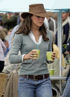 Kate was pictured at Gatcombe Park wearing a cowboy hat, a suede fitted jacket, jeans and her trademark low-slung belt.