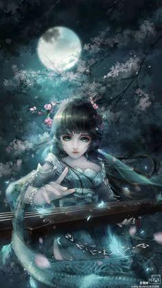 古风 美男美女 青衣 蓝衣 剑网三 琴