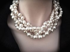 Pearl necklace ~ Brides statement necklace ~ Love this 4 strand twisted chunky pearl statement necklace. It is GORGOUS! It boasts a ton of