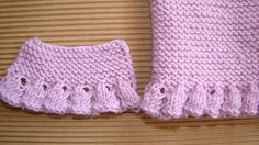 tutorial puntomoderno.com, puntillas, volantes, olanes, ruffles, bordes de punto a dos agujas, also english chart Knitting Stiches, Arm Knitting, Knitting For Kids, Knitting Patterns Free, Crochet Double, Crochet Simple, Chunky Crochet, Knit Or Crochet, Crochet Cardigan