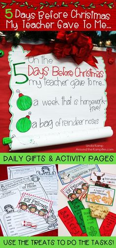 Delight your students and keep them engaged in fun and learning the last 5 days before Christmas or winter break. Try this roll down anchor chart with simple daily gifts with matching holiday math and ELA activities. Students use the treats to complete t Days Before Christmas, Holiday Fun, Christmas Holidays, Christmas Countdown, Christmas Door, Christmas Math, Holiday Ideas, Christmas Gifts, 2nd Grade Christmas Crafts