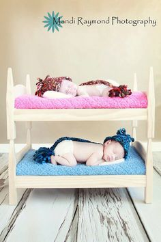 Baby Bunk Beds STACKABLE Twins Photography Prop - TWO newborn beds with mattresses on Etsy, $85.00