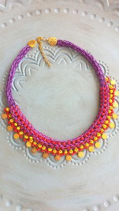 statement women necklacevivid colorsboho by HANDMADETHIS on Etsy Boho Jewelry, Wedding Jewelry, Unique Jewelry, Makara, Crochet Necklace, Beaded Necklace, Handmade Necklaces, Handmade Gifts, String Art