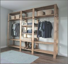 Traditional Bedroom with Unfinished Wood Closet Organizer, Light Blue Rug, and Six Shelving Wooden Closet - . Cheap Closet Organizers Gallery on www.thebuildingnashville.com. Traditional Bedroom with Unfinished Wood Closet Organizer, Light Blue Rug, and Six Shelving Wooden Closet, 10  designs in Cheap Closet Organizers gallery