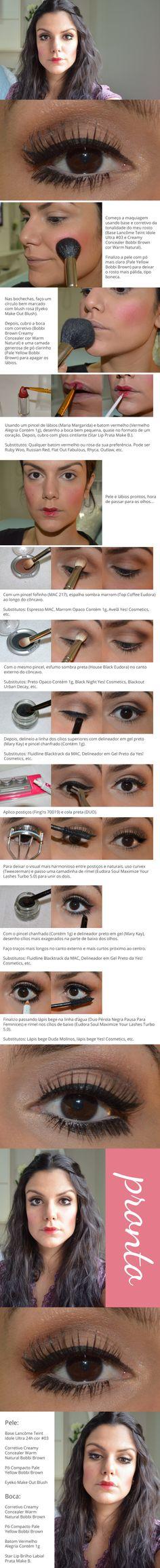 Tutorial: Boneca http://www.2beauty.com.br/blog/2014/02/20/tutorial-boneca/ #makeup #maquiagem #carnaval #tutorial