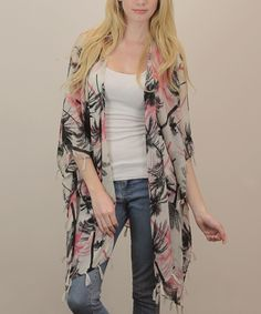 Love this Coral Sheer Palm Tree Kimono by Leto Collection on #zulily! #zulilyfinds