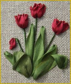 Love these ribbon embroidered tulips! The texture of the ribbon is perfect.