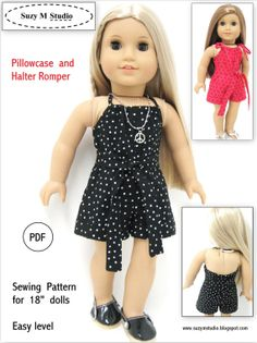 PDf Pattern - Pillowcase and Halter Romper American Doll Size. $4.50, via Etsy.