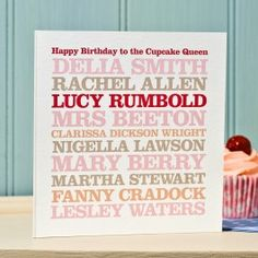 Personalised Famous 'Baker' Card - By Rosie Robins