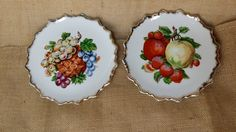 Set of 2 Vintage Fruit Kitsch Wall Art Plates - Transferware Gold Trimmed - Home Decor Decorative Scalloped - Mid Century - plate gold trim