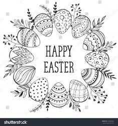 Easter Wreath Easter Eggs Hand Drawn Stock-Vektorgrafik (Lizenzfrei) 378090982 Easter wreath with easter eggs hand drawn black on white background. Decorative doodle frame from Easter eggs and floral elements. Easter eggs with ornaments in circle shape. Easter Art, Easter Crafts, Easter Eggs, Zentangle, Easter Coloring Pages Printable, Easter Drawings, Doodle Frames, Floral Doodle, Easter Colouring