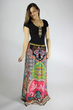 http://823boutique.com/collections/new-arrivals We can't get enough Flying Tomato maxi skirts!  They are so easy to wear and the fun prints bring life to your wardrobe.  They are feminine, flirty and full of boho style!  These skirts are flattering on all body types and they are so easy to throw on with a solid tank or tee, some bangles and a cute necklace!  The colors are black, pink, yellow,and mint on an ivory background.