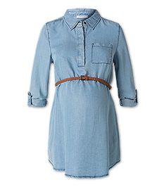 Umstandsbluse mit Gürtel in der Farbe jeans-hellblau bei C&A
