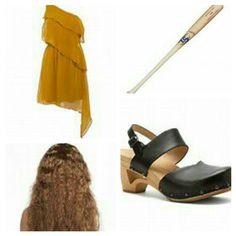 Beyonce Lemonade Halloween Costume-Madame Rage Dress, Dansko Thea Sandals, Louisville Slugger, Crimped Wig