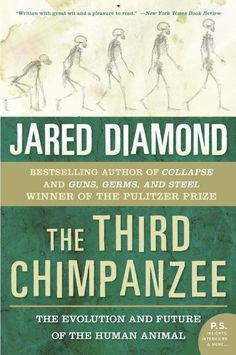 The Third Chimpanzee by Jared M. Diamond.  We human beings share 98 percent of our genes with chimpanzees. Yet humans are the dominant species on the planet -- having founded civilizations and religions, developed intricate and diverse forms of communication, learned science, built cities, and created breathtaking works of art -- while chimps remain animals concerned primarily with the basic necessities of survival. What is it about that two percent difference in DNA..?