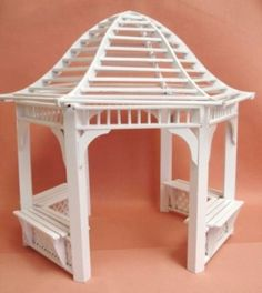 miniature gardening: Dollhouse Miniature White Garden Gazebo | eBay