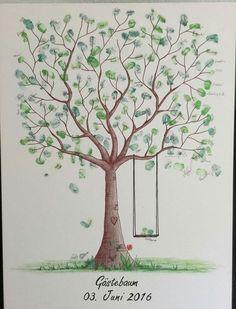 Wedding Tree Fingerabdruck Baum Hochzeit Geschenk Taufe Leinwand 50x70cm/60x80cm