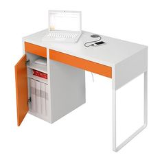 MICKE Desk IKEA Cable outlets and compartment at the back keep your cables and extension leads out of view but close at hand. Ikea Kids Desk, Kid Desk, Ikea Micke, Unique Desks, Kitchen Desks, Teen Room Decor, Boy Decor, Nursery Decor, White Desks