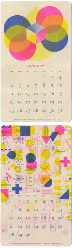 Calendar for admitted students with University dates? Love the overlapping ink and geometric shapes Paper Pusher's 2015 Modern Fluorescent Ink Calendar