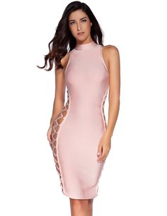 25e4fe4122 Amazon.com  Meilun Women s Lace Up Bandage Dress Contour Bodycon Club Party  Dress