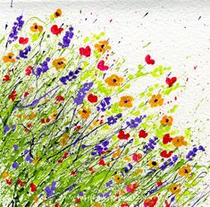 how to make splattered paint flower cards - Pictures For Kids To Paint