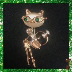 Gold Cat Lady Brooch #CatLady