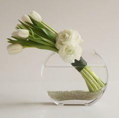 white tulips in slim bubble vase - simple elegance