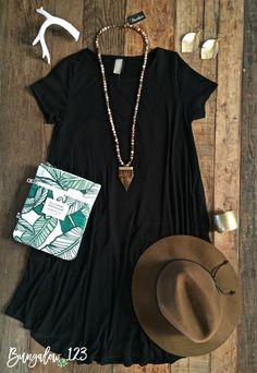 B123 Luxe Bamboo Tunic Dress - Black - Bungalow 123 - 1