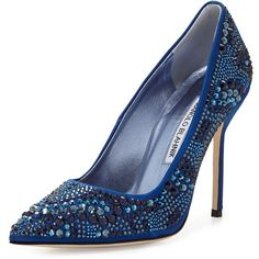 Manolo Blahnik BB Crystal Satin 105mm Pump (6,060 PEN) ❤ liked on Polyvore featuring shoes, pumps, heels, sapatos, blue, blue satin pumps, blue pumps, high heel pumps, blue high heel shoes and slip on shoes