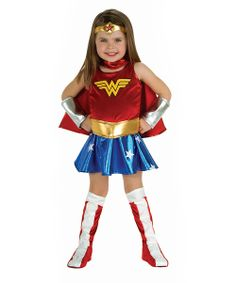 Save any costume party from utter disaster with this wonderful Wonder Woman outfit! Along with easy on/off closures and an authentic comic-worthy design, this officially licensed set includes everything needed for a great day of make-believe fun.Includes dress with attached belt, cape, headband, bracelets and boot covers100% polyester exclusive of trim