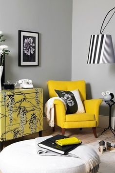 What a super room . . . Grey backdrop working well with beautifully painted cabinet, bright Yellow chair and Black and White stripe lampshade.