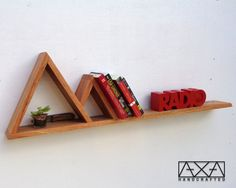 Two Mountains Shelf, Triangle Shelves, Geometric Shelf, Bathroom Shelves, Book shelves, Storage shelves, Reclaimed Wood Furniture,