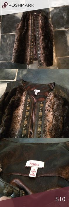 Fuzzy vest soft Reba soft leather fuzzy vest Reba Jackets & Coats Vests