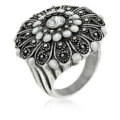 Antique Silver Crest Ring (£19) ❤ liked on Polyvore featuring jewelry, rings, vintage jewelry, antique rings, imitation jewelry, vintage antique jewelry and fantasy jewelry box rings
