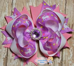 Unicorn Hair Bow Unicorn Stacked Boutique Hair by CrazyBoutBows #hairbows
