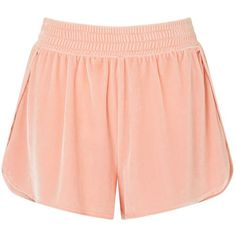 Miss Selfridge Peach Velvet Runner Shorts ($35) ❤ liked on Polyvore featuring peach and miss selfridge