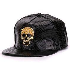 Crocodile skin Boy snap backs 3D metal decoration PU leather flat brim  baseball caps hip hop hat for men. Cráneo DoradoPisos De CueroSombreros  Para Hombre c7e3424d8a3